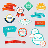 Collection of Sale Discount Styled origami Banners. Royalty Free Stock Image