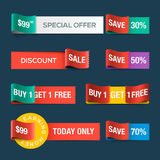 Collection of sale discount website ribbons Stock Photography