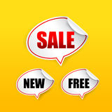 Collection of sale free new tag speech bubble Stock Image
