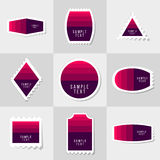 Collection of sample logo and text postage stamp Stock Photography