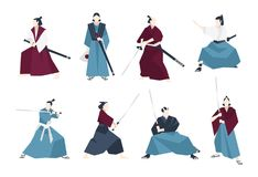 Collection of samurai standing in different postures and holding katana sword.   Stock Photography