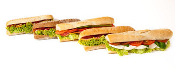 Collection of sandwiches. Royalty Free Stock Image