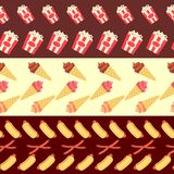 Collection sans couture de frontières d'aliments de préparation rapide - crème glacée et hot-dogs Image libre de droits