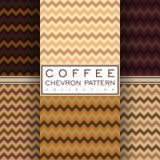 Collection sans couture de modèle de chevron de café Photo libre de droits