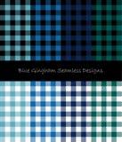 Collection sans couture de modèle de guingan bleu illustration libre de droits