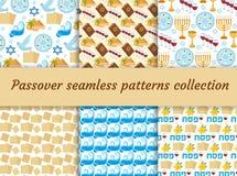 Collection sans couture de modèle de pâque Fond sans fin de Pesach, texture Contexte juif de vacances Illustration de vecteur illustration de vecteur