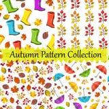 Collection sans couture de modèle de vecteur, ensemble Conception d'automne Copies colorées, mignonnes, gentilles Bottes, paraplu illustration de vecteur