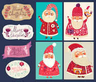Collection with Santa Clauses Stock Images