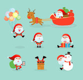 Collection of Santa Clauses, set of Christmas Santa Claus, Santa on winter background. Merry christmas. Vector Illustration Royalty Free Stock Images