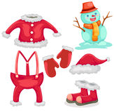 Collection of santa clothes Stock Photos