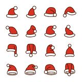 Collection of Santa Hats. New Year And Christmas Santa Hats Collection vector illustration