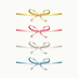 Collection of satin bows. Various colors of ribbons: golden, pink, silver, blue. Vector illustration stock illustration