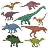 Collection sauvage préhistorique de créatures de dinosaure illustration libre de droits