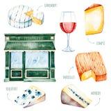 Collection savoureuse d'aquarelle avec du fromage français différent illustration libre de droits