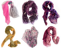 Collection of scarfs Royalty Free Stock Photos