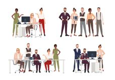Collection of scenes with group of office workers or people working on computer, having business meeting or royalty free illustration