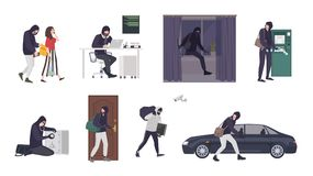 Collection of scenes with male thief or burglar wearing mask and black clothes stealing things from woman s handbag, ATM. Safe box, car, apartment or house royalty free illustration