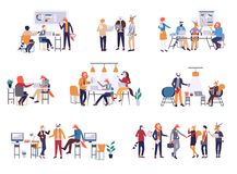 Collection of scenes at office. Bundle of men and women taking part in business meeting, negotiation, brainstorming vector illustration