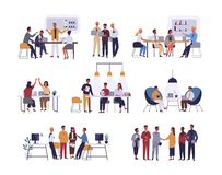 Collection of scenes at office. Bundle of men and women taking part in business meeting, negotiation, brainstorming. Talking to each other. Colorful vector royalty free illustration