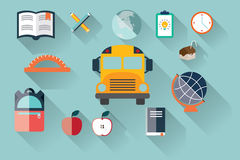 Collection of school items icons, flat design, long shadow Stock Photo