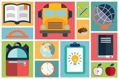 Collection of school items icons, flat design, long shadow Royalty Free Stock Image