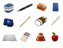 Collection of School Items Royalty Free Stock Images