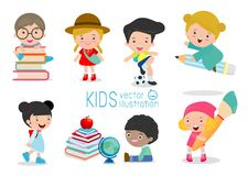 Collection of school kids in education concept, back to school template with children, child go to school, back to school. Vector Illustration stock illustration