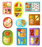 Collection of School Lunch Trays of Different Colors, Healthy Nutrition Food of Children Vector Illustration. On White Background royalty free illustration
