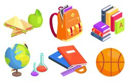Collection of School-Related Objects Illustration Royalty Free Stock Image