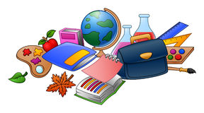 Collection of school supplies. Illustration of Collection of school supplies Royalty Free Stock Photos