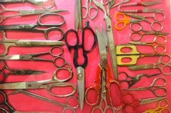 Collection of scissors many types Stock Photography