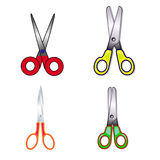 Collection of scissors, on white background. Stock Photos