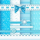 Collection for scrapbook. Patterns blue 1. Stock Image