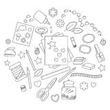 Collection of scrapbooking tools Stock Image