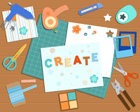 Collection of scrapbooking tools royalty free illustration