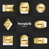 Collection scrath line postage stamp Royalty Free Stock Photos