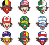 Collection of screaming faces with flags on caps Stock Photography