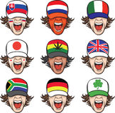Collection of screaming faces with flags on caps Royalty Free Stock Image