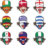 Collection of screaming faces with flags on caps Royalty Free Stock Photo