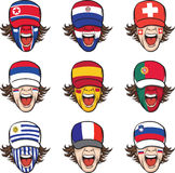 Collection of screaming faces with flags on caps Royalty Free Stock Images