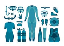 Collection of scuba diving. Royalty Free Stock Image
