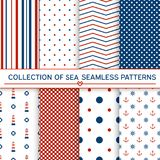 Collection of sea seamless patterns. Red,blue, whitecolors.Seamless pattern included in swatch panel.Design for fabric, web background, wallpaper, cards, prints Stock Photos