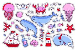 Collection of sea stickers, patches, badges, pins. Vector isolated illustration. royalty free illustration