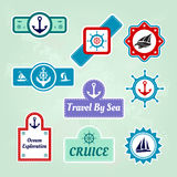 Set of sea travel company icons. Collection of sea travel company icons Royalty Free Stock Images