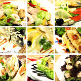 Collection of seafood dishes. Collage of dishes with seafood and vegetables stock photos