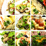 Collection of seafood and meat dishes. Collage of dishes with seafood and meat stock photography