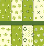 Collection of 8 Seamless Abstract Floral Ecologic Pattern Royalty Free Stock Photos