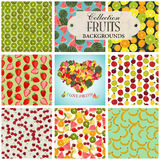 Collection of seamless backgrounds and heart on the topic of fru. Its, illustration Royalty Free Stock Photo