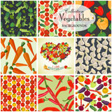 Collection of seamless backgrounds and heart on the topic of veg. Etables, illustration Royalty Free Stock Photography