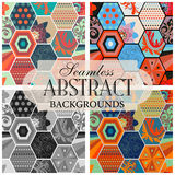 Collection of seamless backgrounds on the topic of abstract patt Stock Image